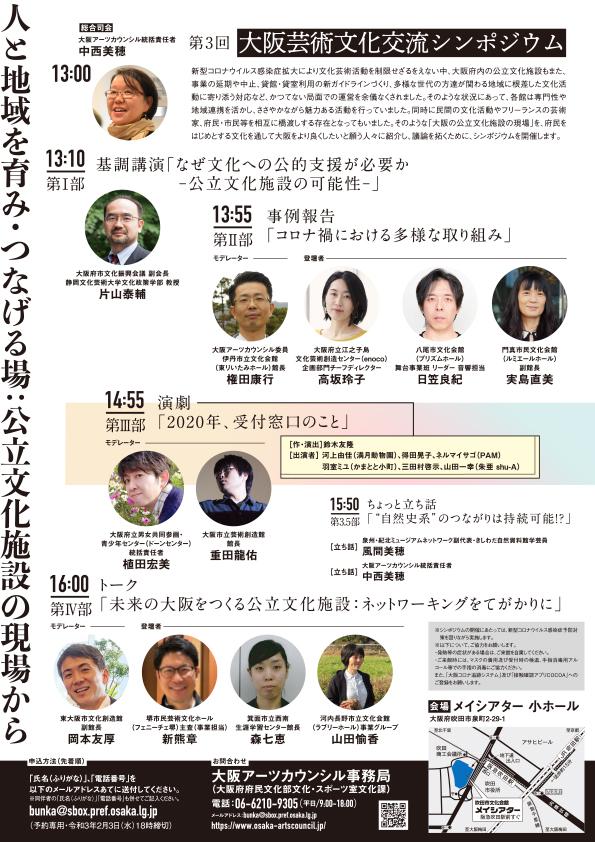 第3回 大阪芸術文化交流シンポジウム 人と地域を育み・つなげる場:立文化施設の現場から チラシ裏面